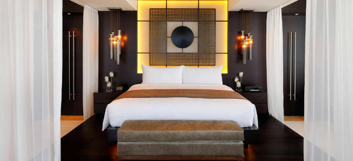 The amazing bedrooms at the JW Marquis Marriott Hotel Dubai