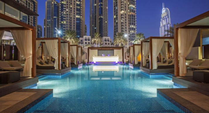 splash about int the lovely pool at Vida Downtown Dubai