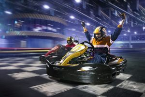 image shows the ideal date weekend with karting